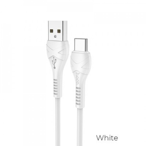 HOCO cable USB Cool power charging data cable for Type C 1 meter white
