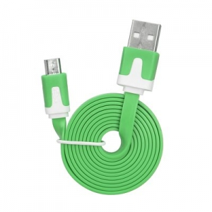 Flat USB cable for Micro green